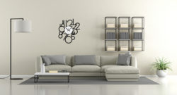 Minimalist lounge with sofa and modern bookcase on concrete wall - 3d rendering
